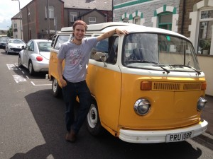 Me and my beloved camper van, Pru. Sad she is no longer with us!
